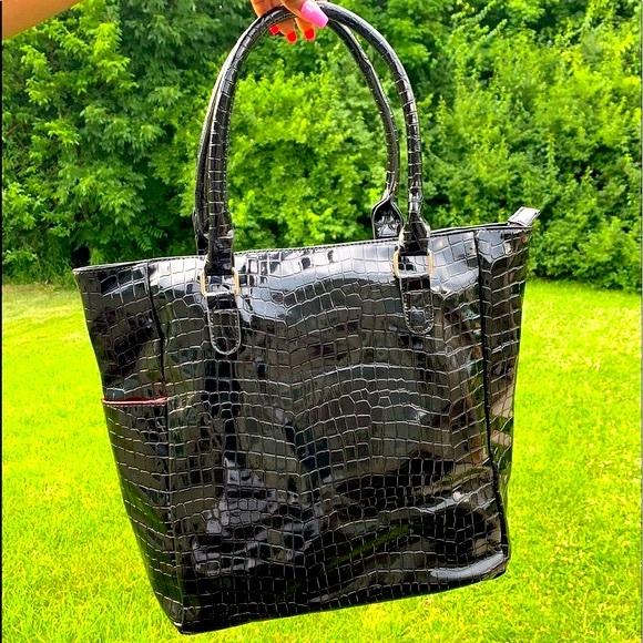 Macy's Handbags - Macy's Black Croc Print Purse